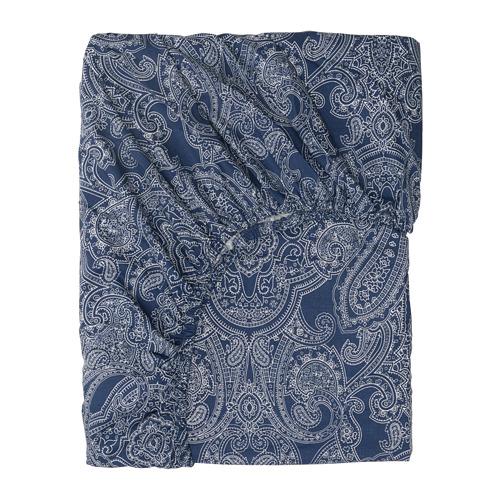 JÄTTEVALLMO, palags ar gumiju 160x200 cm tumši zilā krāsā/baltā krāsā
