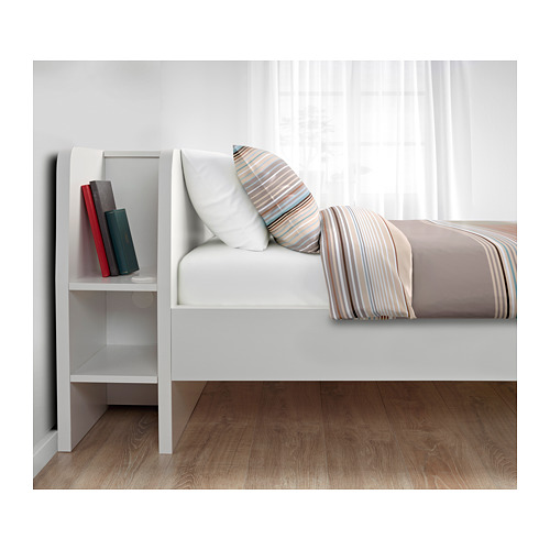 ASKVOLL bed frm w headboard+storage