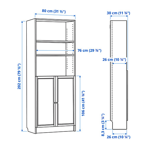 BILLY/OXBERG bookcase with doors