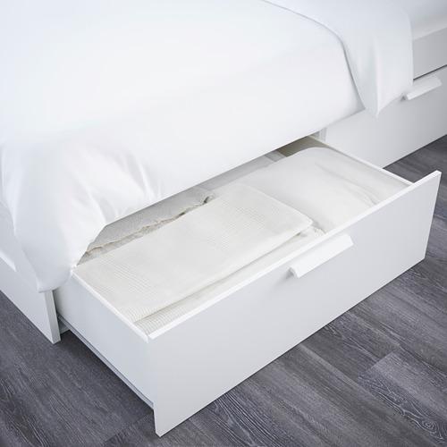 BRIMNES lovos rėmas su stalčiais/galvūgaliu
