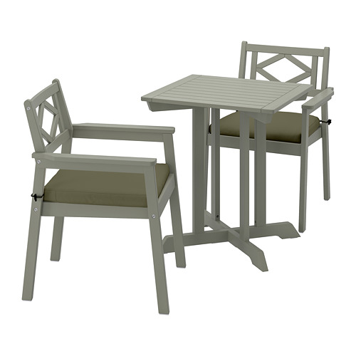 BONDHOLMEN table+2 chairs w armrests, outdoor