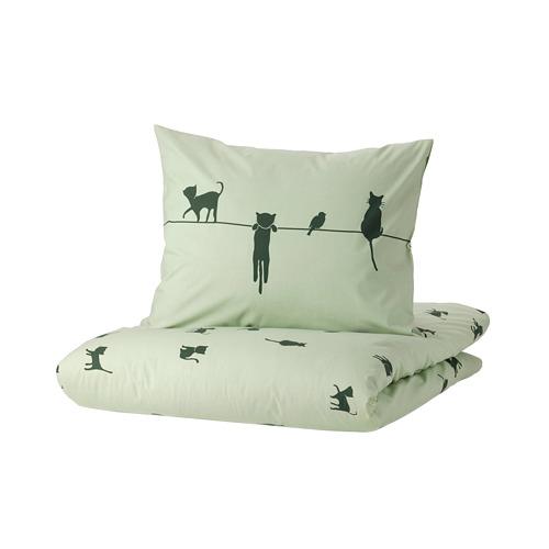 BARNDRÖM, segas pārvalks un spilvendrāna 150x200/50x60 cm kaķu raksts/zaļā krāsā