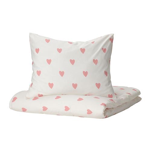 BARNDRÖM, segas pārvalks un spilvendrāna 150x200/50x60 cm siržu raksts baltā krāsā/rozā