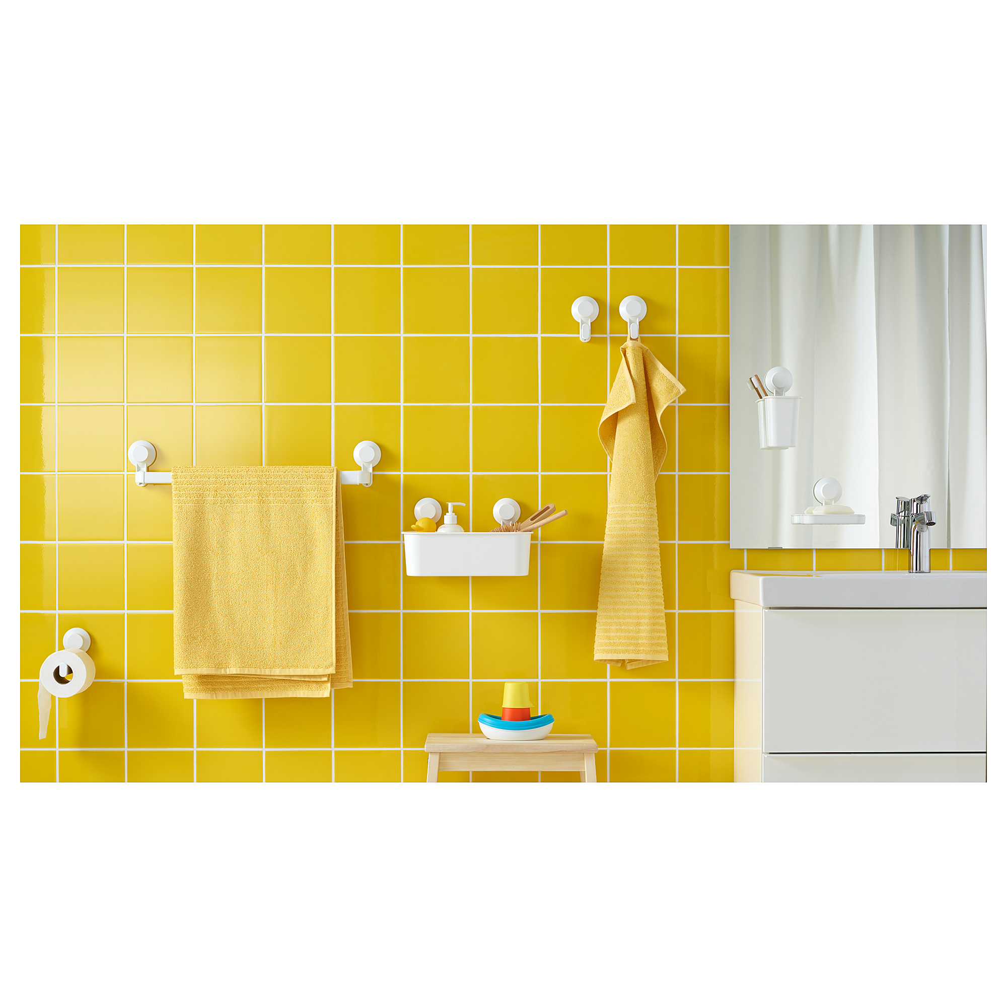TISKEN towel rack with suction cup