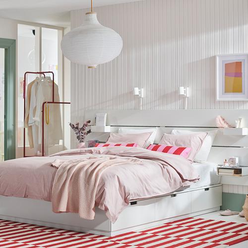 NORDLI lovos rėmas, stalčiai ir galvūgalis