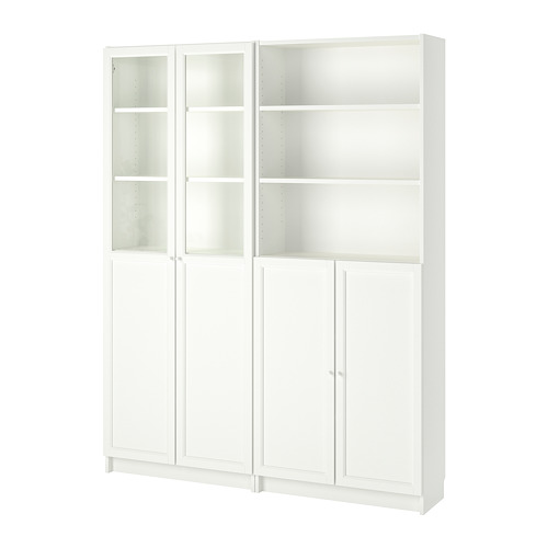 BILLY/OXBERG bookcase with panel/glass doors