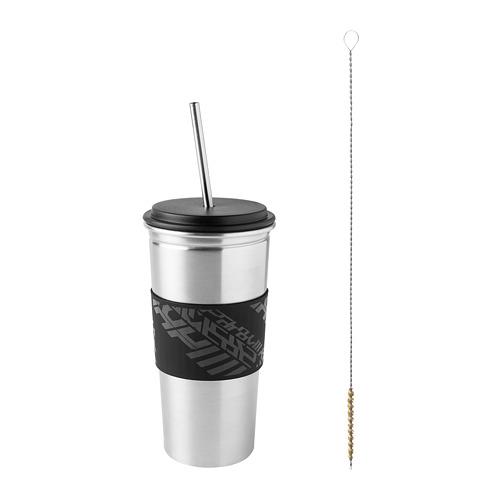 LÅNESPELARE mug with lid and straw