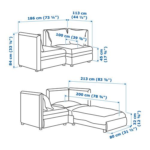 VALLENTUNA 2-местный модульный диван-кровать