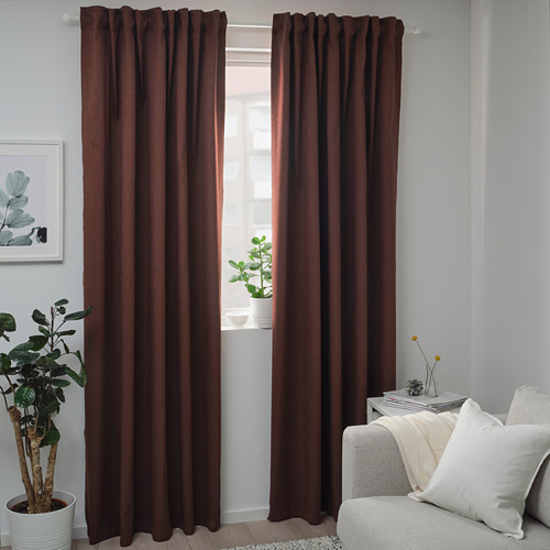 BLÅHUVA block-out curtains, 1 pair