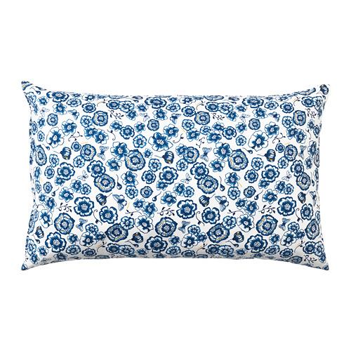 SÅNGLÄRKA, spilvens 40x65 cm zieds/zilā krāsā baltā krāsā