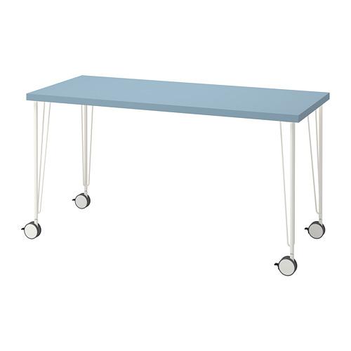 KRILLE/LAGKAPTEN, rakstāmgalds 60x73 cm gaiši zilā krāsā/baltā krāsā