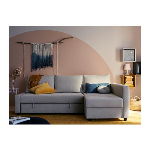FRIHETEN kampinė sofa-lova su patalynės dėže