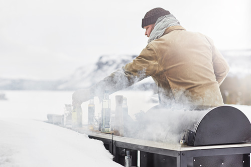 GRILLSKÄR charcoal barbecue with cabinet