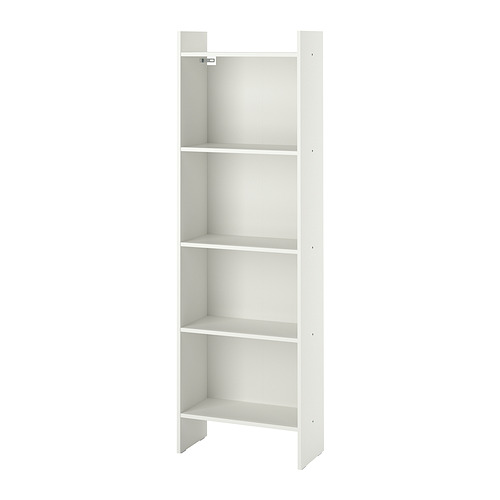 BAGGEBO, grāmatplaukts 50x25x160 cm baltā krāsā