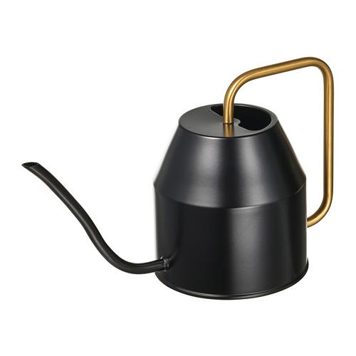 VATTENKRASSE lejkanna  16 cm melnā krāsā/zelta krāsā