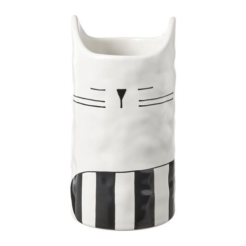 FÅTALIG, vāze 12x Ø6 cm kaķis pienbaltā krāsā