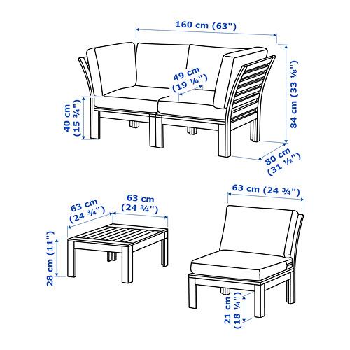 ÄPPLARÖ 4-местный комплект садовой мебели
