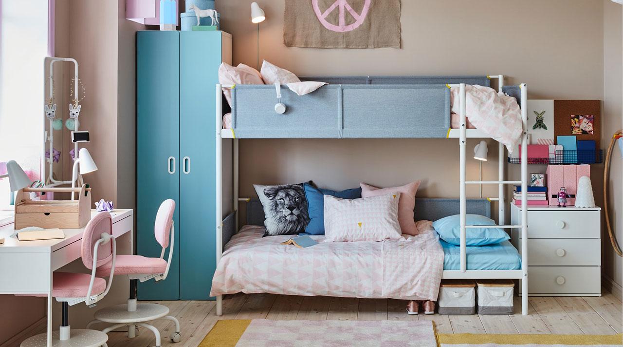Dviese viename vaikų kambaryje: idėjos ir sprendimai