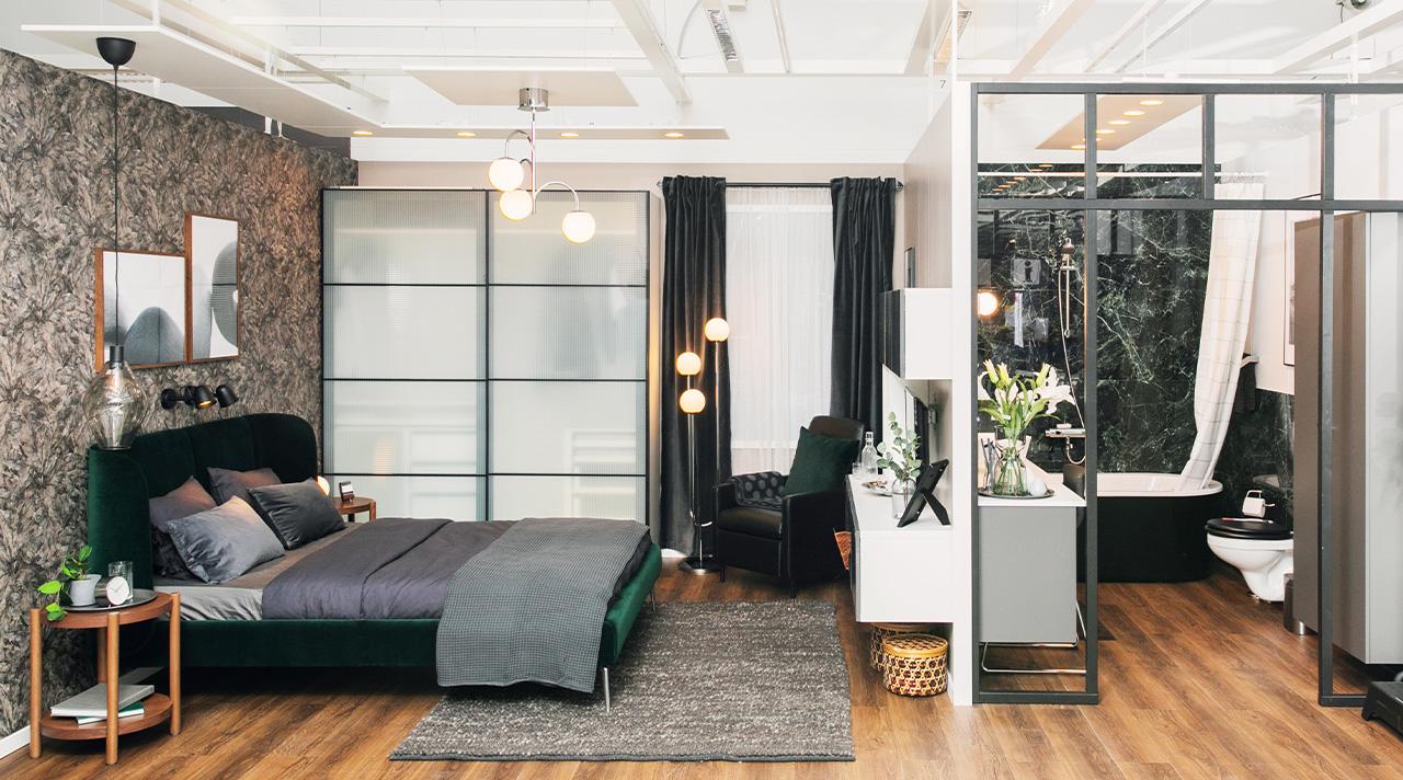 Pokyčiai IKEA ekspozicijoje: jaunos poros miegamasis